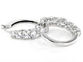 White Cubic Zirconia Rhodium Over Sterling Silver Hoop Earrings 5.48ctw
