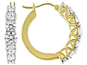 White Cubic Zirconia 18k Yellow Gold Over Sterling Silver Hoop Earrings 5.48ctw