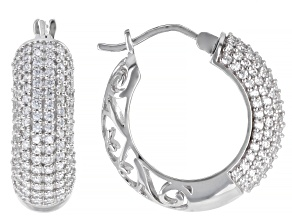 White Cubic Zirconia Rhodium Over Sterling Silver Hoop Earrings 4.15ctw