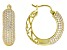 White Cubic Zirconia 18k Yellow Gold Over Sterling Silver Hoop Earrings 4.15ctw