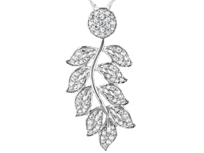 White Cubic Zirconia Rhodium Over Sterling Silver Leaf Pendant With Chain 1.73ctw