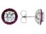 Red and White Cubic Zirconia Rhodium Over Sterling Silver Stud Earrings 7.51ctw