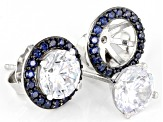 Blue and White Cubic Zirconia Rhodium Over Sterling Silver Stud Earrings 7.38ctw