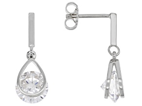 White Cubic Zirconia Rhodium Over Sterling Silver Earrings 6.56ctw