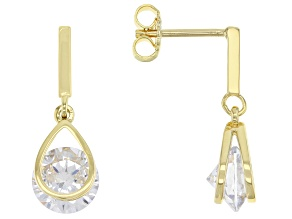 White Cubic Zirconia 18k Yellow Gold Over Sterling Silver Earrings 6.56ctw