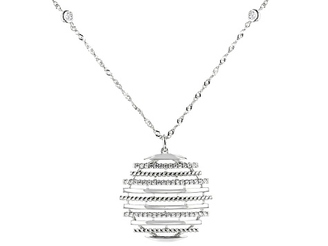 White Cubic Zirconia Rhodium Over Sterling Silver Necklace 1.03ctw