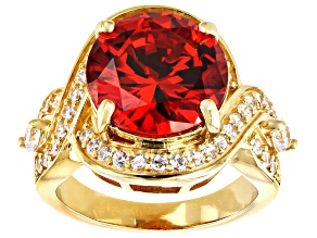 Orange and White Cubic Zirconia 18k Yellow Gold Over Sterling Silver Ring 13.08ctw