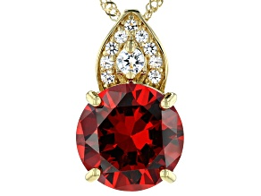 Orange and White Cubic Zirconia 18k Yellow Gold Over Sterling Silver Pendant With Chain 11.91ctw