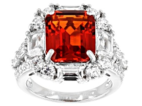 Lab Orange Sapphire And White Cubic Zirconia Rhodium Over Sterling Silver Ring 13.05ctw