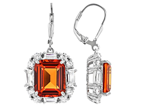 Lab Orange Sapphire and White Cubic Zirconia Rhodium Over Sterling Silver Earrings 20.70ctw
