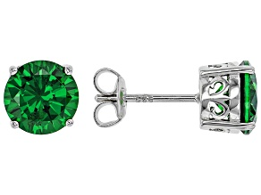 Green Cubic Zirconia Rhodium Over Sterling Silver Stud Earrings 6.22ctw