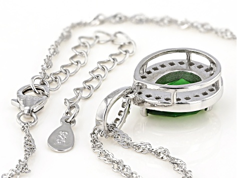 Green and White Cubic Zirconia Rhodium Over Sterling Silver Pendant With Chain 4.52ctw