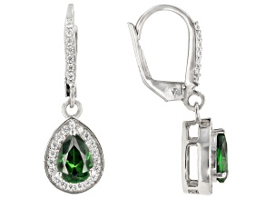 Green and White Cubic Zirconia Rhodium Over Sterling Silver Earrings 2.82ctw