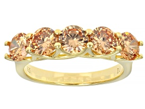Champagne Cubic Zirconia 18k Yellow Gold Over Sterling Silver Ring 4.30ctw