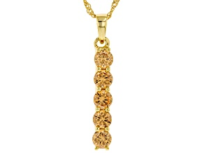 Champagne Cubic Zirconia 18k Yellow Gold Over Sterling Silver Pendant With Chain 4.39ctw