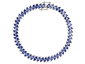 Blue Cubic Zirconia Rhodium Over Sterling Silver Bracelet 19.24ctw