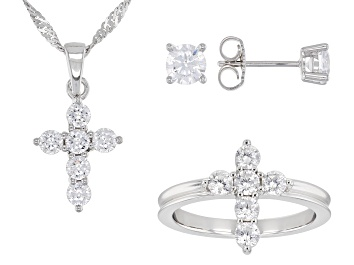 Picture of White Cubic Zirconia Rhodium Over Silver Cross Ring, Earring, And Pendant With Chain Set 4.08ctw