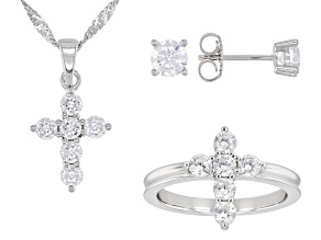 White Cubic Zirconia Rhodium Over Silver Cross Ring, Earring, And Pendant With Chain Set 4.08ctw