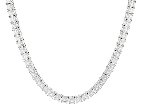 White Cubic Zirconia Rhodium Over Sterling Silver Asscher Cut Tennis Necklace 63.25ctw