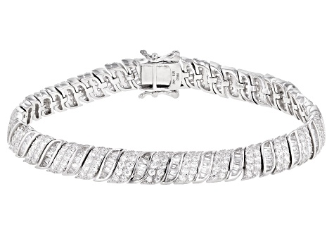 White Cubic Zirconia Rhodium Over Sterling Silver Tennis Bracelet 9.53ctw