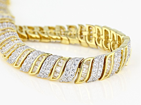 White Cubic Zirconia 18K Yellow Gold Over Sterling Silver Tennis Bracelet 9.53ctw