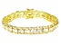 White Cubic Zirconia 18K Yellow Gold Over Sterling Silver Tennis Bracelet 33.14ctw