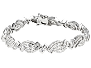 White Cubic Zirconia Rhodium Over Sterling Silver Tennis Bracelet 9.77ctw