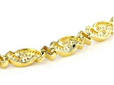 White Cubic Zirconia 18K Yellow Gold Over Sterling Silver Tennis Bracelet 9.77ctw