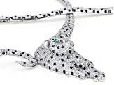 White, Green, And Black Cubic Zirconia Rhodium Over Sterling Silver Panther Necklace 17.42ctw