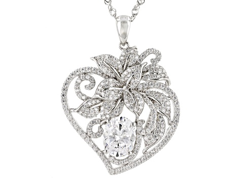 White Cubic Zirconia Rhodium Over Sterling Silver Floral Heart Pendant With Chain 6.73ctw