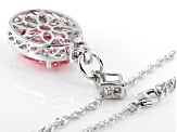 Pink and White Cubic Zirconia Rhodium Over Sterling Silver Pendant With Chain 17.03ctw
