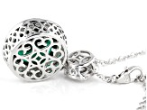 Green and White Cubic Zirconia Rhodium Over Sterling Silver Pendant With Chain 9.45ctw