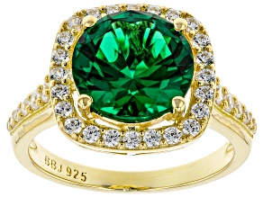 Green and White Cubic Zirconia 18k Yellow Gold Over Sterling Silver Ring 4.06ctw