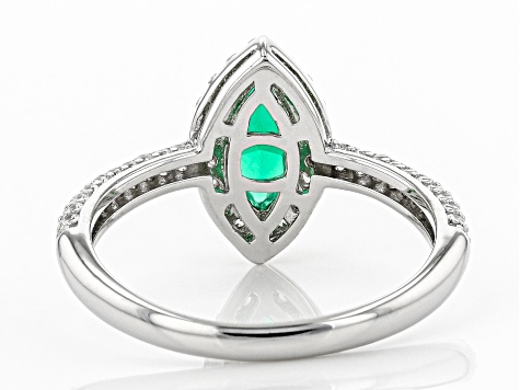 Green and White Cubic Zirconia Rhodium Over Sterling Silver Ring 1.53ctw