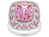 Pink and White Cubic Zirconia Rhodium Over Sterling Silver Ring 11.91ctw