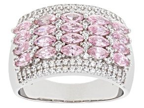 Pink and White Cubic Zirconia Rhodium Over Sterling Silver Ring 3.40ctw