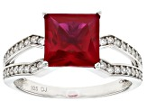 Lab Created Ruby And White Cubic Zirconia Rhodium Over Sterling Silver Ring 2.85ctw