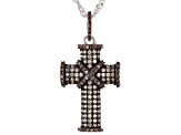 Mocha and Champagne Cubic Zirconia Rhodium Over Sterling Silver Cross Pendant With Chain 1.85ctw