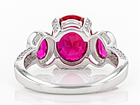 Lab Created Ruby and White Cubic Zirconia Rhodium Over Sterling Silver Ring 4.44ctw