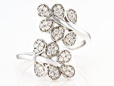 White Cubic Zirconia Rhodium Over Sterling Silver Leaf Ring 0.75ctw