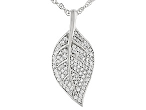 White Cubic Zirconia Rhodium Over Sterling Silver Leaf Pendant With Chain 3.24ctw