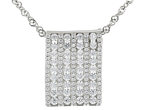 White Cubic Zirconia Rhodium Over Sterling Silver Pendant With Chain 2.36ctw