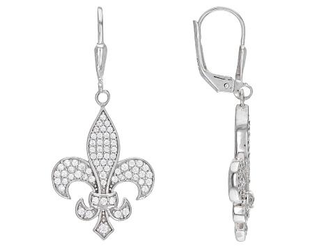 Goldia Sterling Silver CZ Fleur-de-lis Pendant