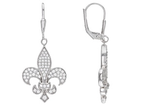 White Cubic Zirconia Rhodium Over Sterling Silver Fleur-de-Lis Earrings 1.50ctw