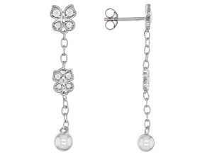 White Cubic Zirconia Rhodium Over Sterling Silver Butterfly Dangle Earrings 0.43ctw
