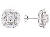 White Cubic Zirconia Rhodium Over Sterling Silver Earrings 7.98ctw