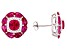 Lab Created Ruby And White Cubic Zirconia Rhodium Over Sterling Silver Earrings 7.62ctw
