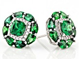 Green and White Cubic Zirconia Rhodium Over Sterling Silver Earrings 8.65ctw