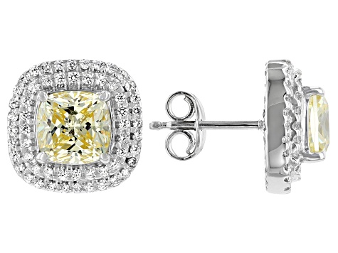 Yellow And White Cubic Zirconia Rhodium Over Sterling Silver Earrings 6.55ctw