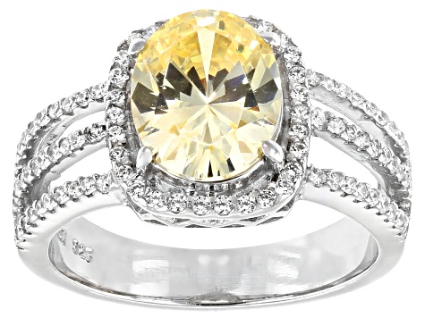 Yellow and White Cubic Zirconia Rhodium Over Sterling Silver Ring 5.10ctw